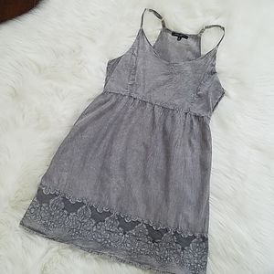 Romeo & Juliet Couture Gray Boho Chic Dress szL